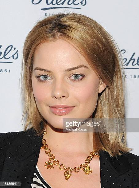 Actress Margot Robbie attends the celebration of the Environmental Partnership of Kiehl's Rare Earth Deep Pore Cleansing Masque Benefiting...