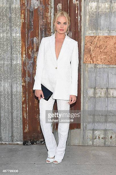Actress Margot Robbie attends the Givenchy fashion show during Spring 2016 New York Fashion Week at Pier 26 at Hudson River Park on September 11 2015...