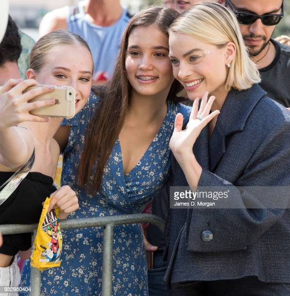 Actress Margot Robbie attends the Peter Rabbit Australian Premiere on March 17 2018 in Sydney Australia