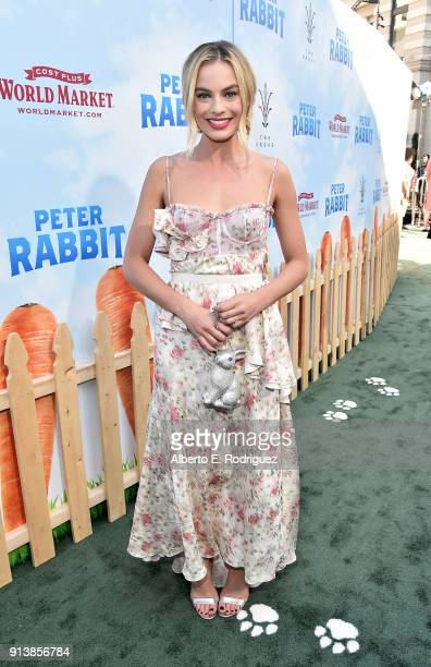 Actress Margot Robbie attends the premiere of Columbia Pictures' 'Peter Rabbit' at The Grove on February 3 2018 in Los Angeles California