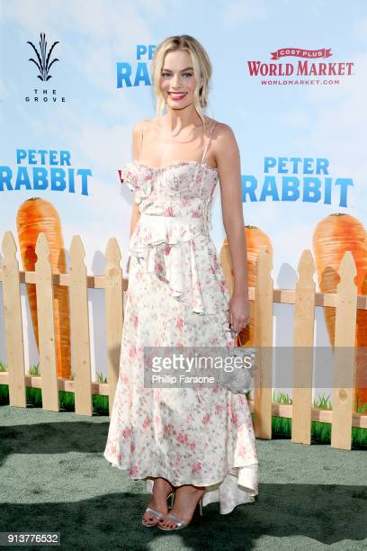 Actress Margot Robbie attends the premiere of 'Peter Rabbit' sponsored by Cost Plus World Market at The Grove on February 3 2018 in Los Angeles...