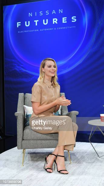 Actress Margot Robbie discusses her commitment to sustainability and experience as an electric vehicle owner at Nissan Futures a global forum to...