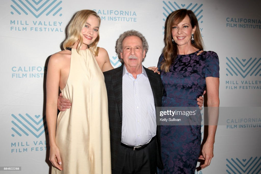 Actress Margot Robbie, Executive Director of the California Film Institute Mark Fishkin, and actress Allison Janney pose for photos on the red carpet for a premiere of 'I, Tonya' at the Christopher B. Smith Rafael Film Center on December 2, 2017 in San Rafael, California.