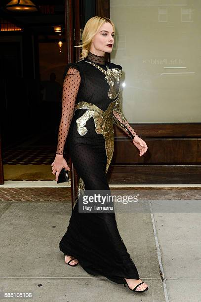 Actress Margot Robbie leaves her Tribeca hotel on August 01, 2016 in New York City.