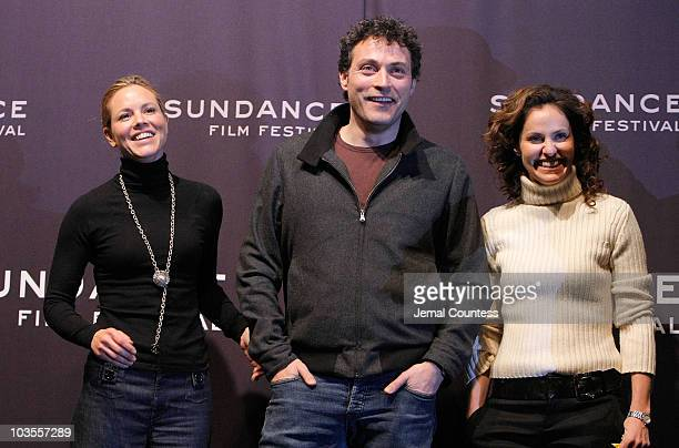 Actress Maria Bello actor Rufus Sewell and actress Amy Brenneman attend a screening of 'Downloading Nancy' at the Racquet Club during the 2008...