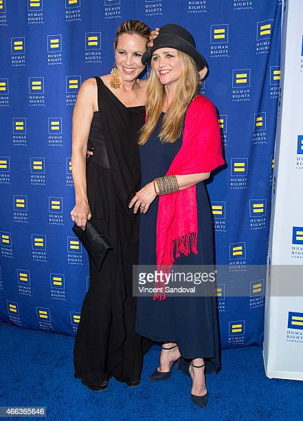 Actress Maria Bello and Clare Munn attend the 2015 Human Rights Campaign Los Angeles Gala dinner at JW Marriott Los Angeles at LA LIVE on March 14...