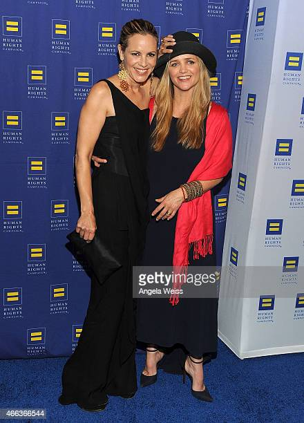 Actress Maria Bello and Clare Munn attend the Human Rights Campaign Los Angeles Gala 2015 at JW Marriott Los Angeles at LA LIVE on March 14 2015 in...