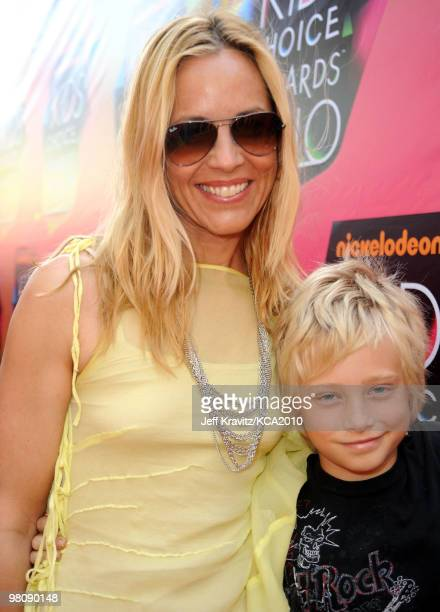 Actress Maria Bello and her son Jackson Blue McDermott arrive at Nickelodeon's 23rd Annual Kids' Choice Awards held at UCLA's Pauley Pavilion on...