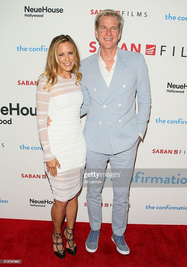 Actress Maria Bello and Matthew Modine attend the premiere of Saban Films' 'The Confirmation' on March 15, 2016 in Los Angeles, California.