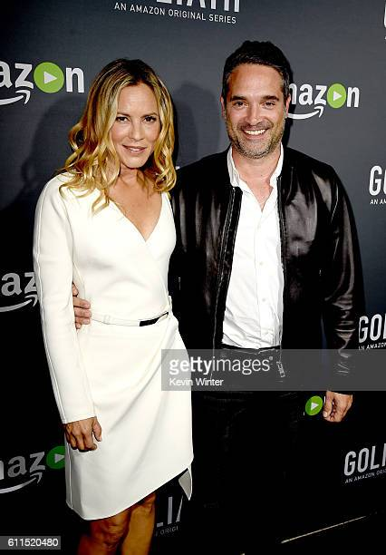 Actress Maria Bello and Morgan Wandell Head of Drama Series Amazon Studios pose at the premiere screening of Amazon's 'Goliath' at The London on...