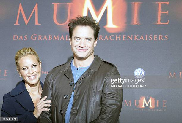 US actress Maria Bello and USCanadian actor Brendan Fraser pose during a photocall on July 23 2008 in Berlin to promote their new film 'The Mummy...