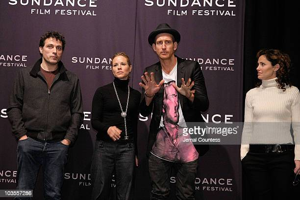 Actress Maria Bello director Johan Renck actor Rufus Sewell and actress Amy Brenneman attend a screening of 'Downloading Nancy' at the Racquet Club...