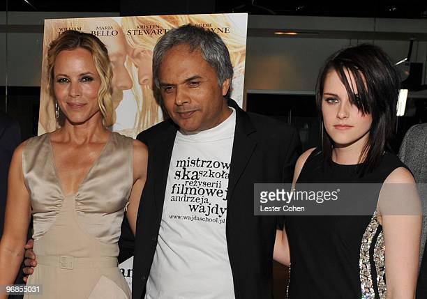 Actress Maria Bello director Udayan Prasad and actress Kristen Stewart attend the The Yellow Handkerchief Los Angeles premiere at Pacific Design...