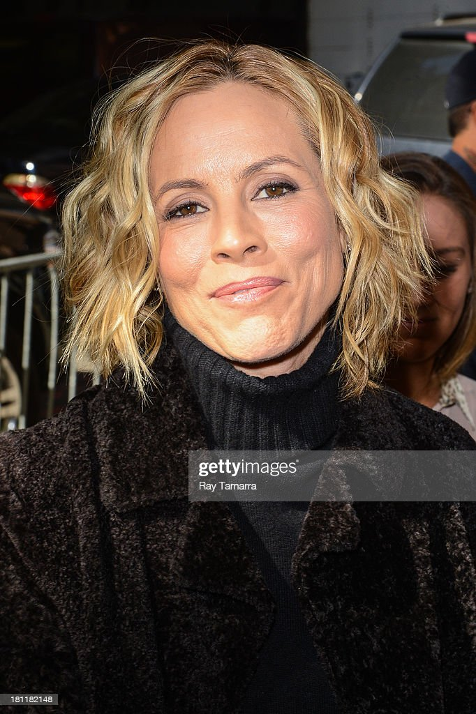 Actress Maria Bello enters the 'Katie Couric Show' taping at the ABC Lincoln Center Studios on September 19, 2013 in New York City.