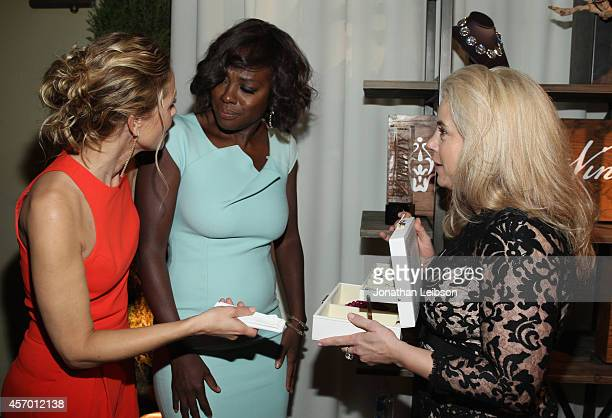 Actress Maria Bello honoree Viola Davis and Saint Vintage founder Paige JansenNichols attend the 2014 Variety Power of Women presented by Lifetime at...