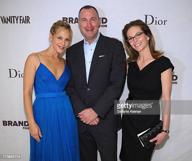 Actress Maria Bello Vanity Fair publisher Edward Menicheschi and actress Diane Lane attend the Dior and Vanity Fair launch of BRANDAID Foundation...