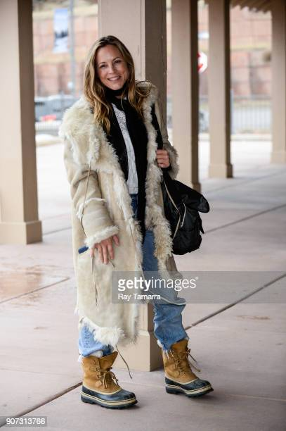 Actress Maria Bello walks in Park City on January 19 2018 in Park City Utah