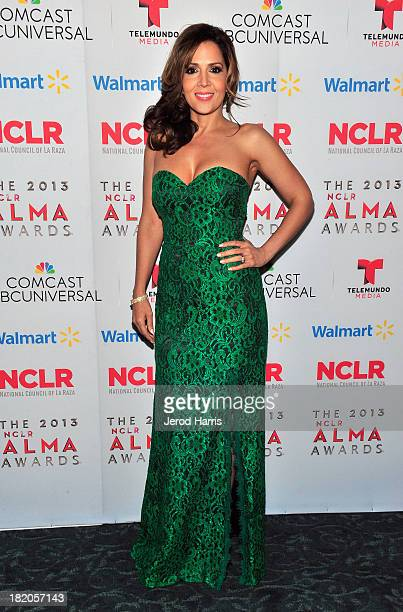 Actress Maria CanalsBarrera attends the VIP reception during the 2013 NCLR ALMA Awards at Pasadena Civic Auditorium on September 27 2013 in Pasadena...