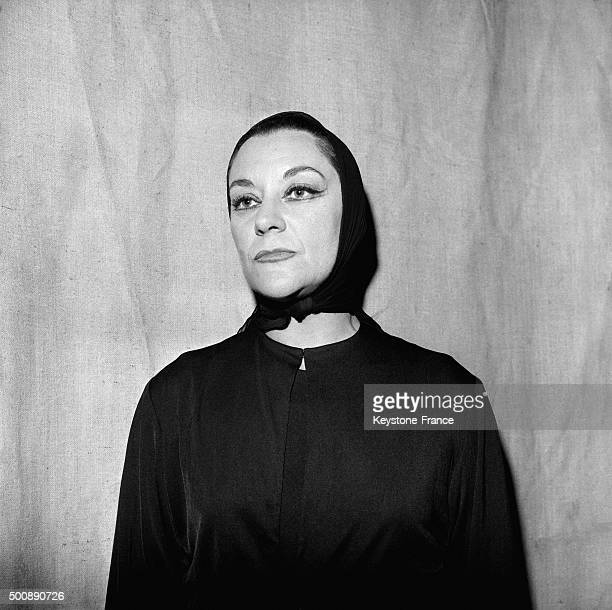 Actress Maria Casares rehearsing the first play of Maurice Béjart 'La Reine Verte' at the Théâtre Hébertot in which she plays the Death on October 8...