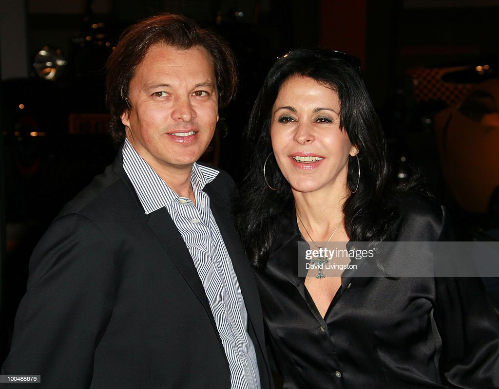 Actress Maria Conchita Alonso (R) and Fernando Barrera attend the Rally for Kids with Cancer Scavenger Cup press conference at Petersen Automotive Museum on May 24, 2010 in Los Angeles, California.