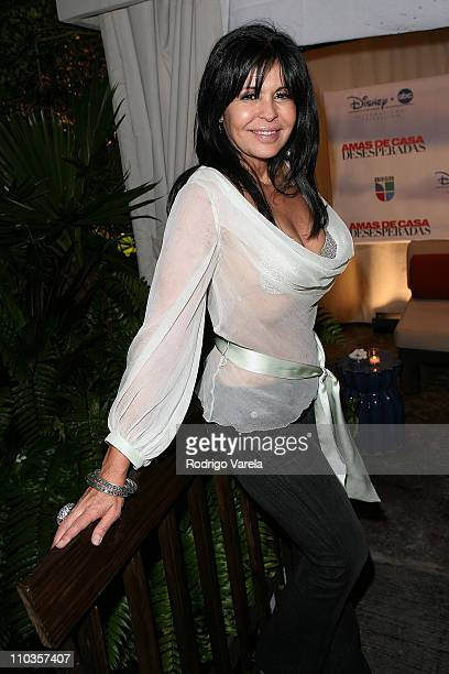 Actress Maria Conchita Alonso poses during Univision's new soap opera 'Amas de Casa Desesperadas' launch party at Karu and Y January 8 2008 in Miami...