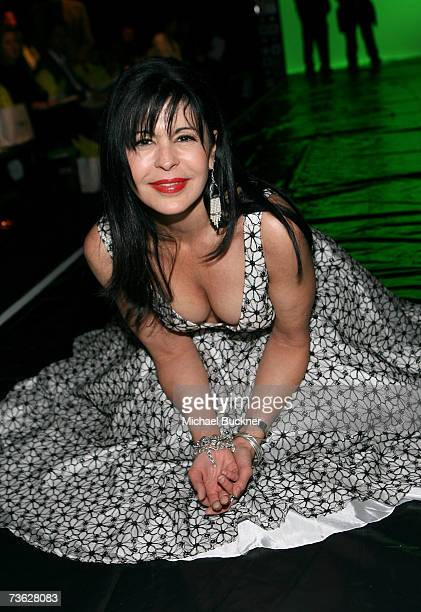 Actress Maria Conchita Alonso poses in the front row at the Sue Wong Fall 2007 fashion show during Mercedes Benz Fashion Week held at Smashbox...
