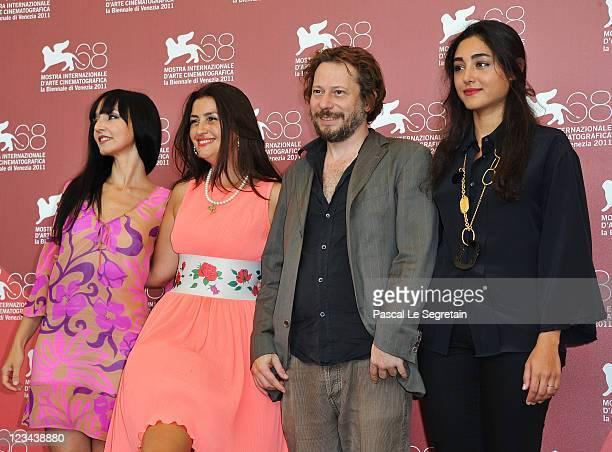 Actress Maria de Medeiros actress Rona Hartner actor Mathieu Amalric and actress Golshifteh Farahani pose at the Poulet Aux Prunes photocall during...