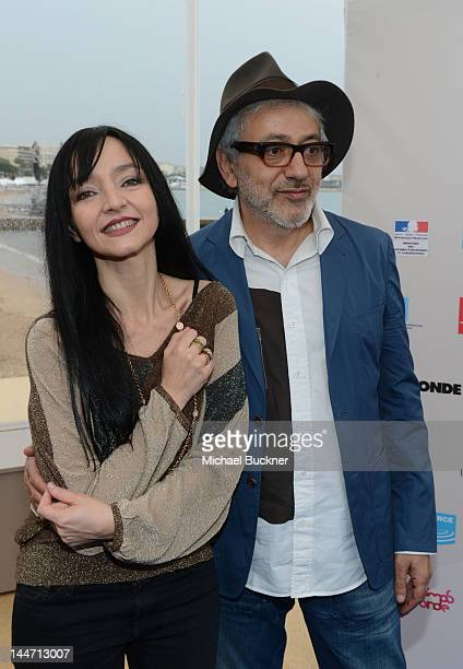 Actress Maria De Medeiros and director Elia Suleiman at at the Maria de Medeiros press conference during the 65th Annual Cannes Film Festival on May...