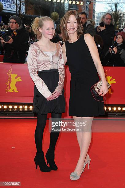 Actress Maria Elise Miller and German actress Jenny Schily attend the 'Schlafkrankheit' Premiere during day three of the 61st Berlin International...