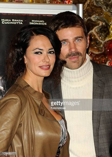 Actress Maria Grazia Cucinotta and actor Fabio Fulco attend a photocall for 'Transgression' at Palafox Cinema on October 17 2011 in Madrid Spain