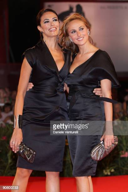 Actress Maria Grazia Cucinotta and Isabella Andreini attend 'A Single Man' Premiere at the Sala Grande during the 66th Venice Film Festival on...