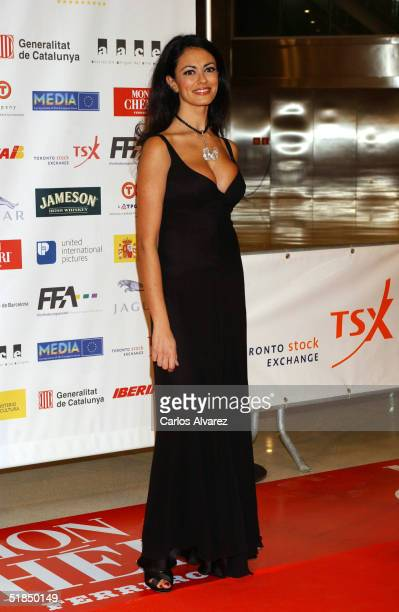 """Actress Maria Grazia Cucinotta arrives at the """"European Film Awards 2004"""" on December 11, 2004 at The Forum in Barcelona, Spain. The annual film..."""