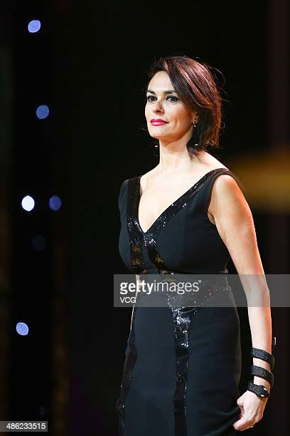 Actress Maria Grazia Cucinotta attends the closing ceremony of the 2014 Beijing International Film Festival at BTV Theater on April 23 2014 in...