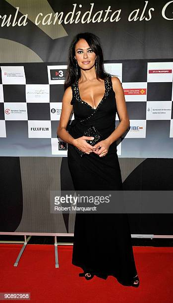 Actress Maria Grazia Cucinotta attends the premiere of the film 'Flores Negras' at Cine Comedia on September 17 2009 in Barcelona Spain