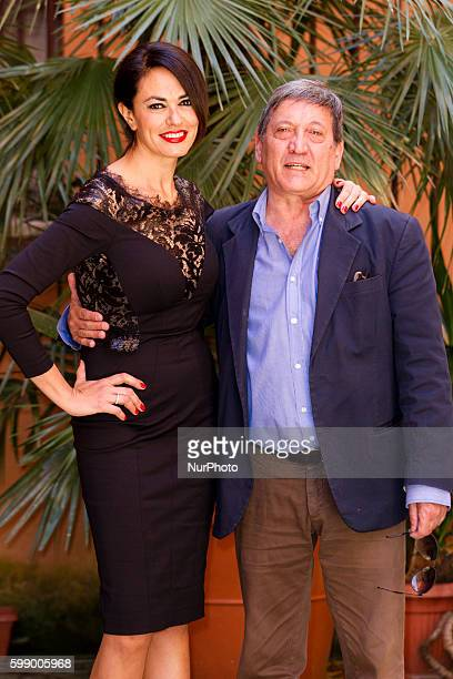Actress Maria Grazia Cucinotta with Tony Sperandeo attends quot'The Tailor's Wifequot photocall in Rome