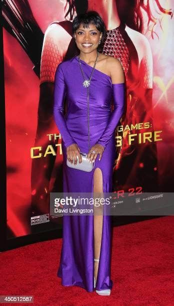 Actress Maria Howell attends the premiere of Lionsgate's 'The Hunger Games Catching Fire' at Nokia Theatre LA Live on November 18 2013 in Los Angeles...