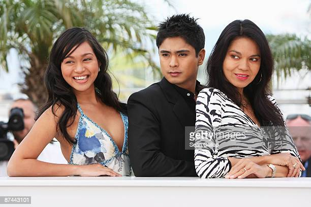 Actress Maria Isabel Lopez actor Coco Martin and actress Mercedes Cabral attend the Kinatay Photocall held at the Palais Des Festivals during the...