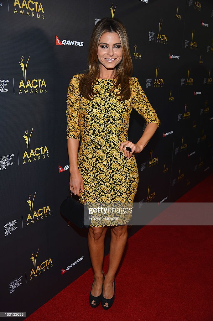 Actress Maria Menounos arrives at the Australian Academy Of Cinema And Television Arts' 2nd AACTA International Awards at Soho House on January 26, 2013 in West Hollywood, California.