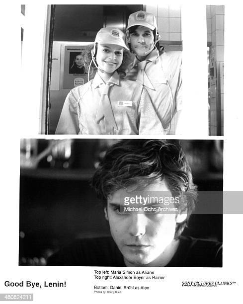 Actress Maria Simon and actor Alexander Beyer on set actor Daniel Bruhl in a scene from the movie Good Bye Lenin circa 2003