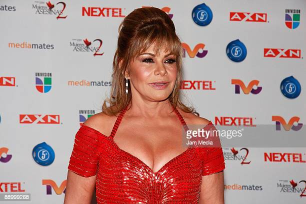 Actress Maria Sorte poses for a photo during the premiere of the television series 'Mujeres Asesinas' second season at the facilities of San Angel...