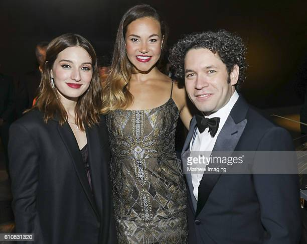 Actress Maria Valverde singer Solea Pfeiffer and LA Philharmonic Music and Artistic Director Gustavo Dudamel pose for portrait at Walt Disney Concert...