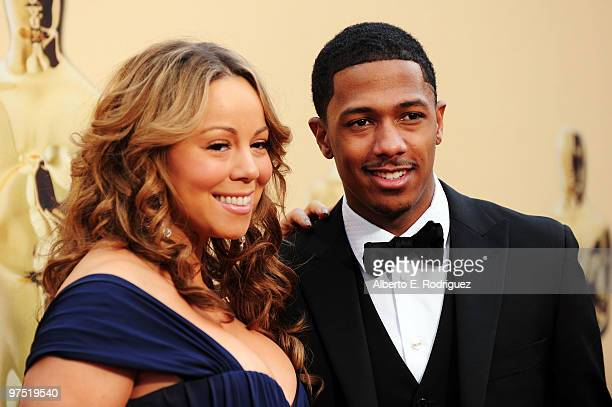 Actress Mariah Carey and husband Nick Cannon arrive at the 82nd Annual Academy Awards held at Kodak Theatre on March 7 2010 in Hollywood California