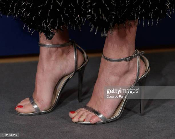 Actress Mariam Hernandez shoes detail attends 'VII Premios Mujer Hoy' at Casino on January 30 2018 in Madrid Spain