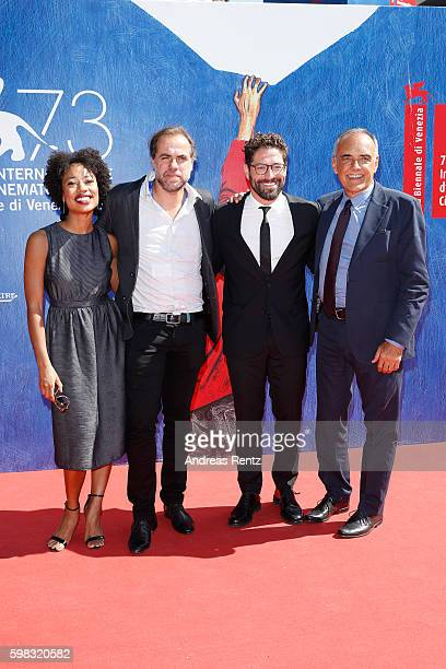 Actress Mariana Nunes director Marco Martins actor Nuno Lopes and president of the festival Alberto Barbera attend the premiere of 'Saint George'...