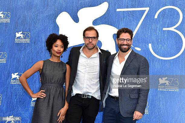 Actress Mariana Nunes, director Marco Martins and actor Nuno Lopes attend a photocall for 'Saint George' during the 73rd Venice Film Festival at on...