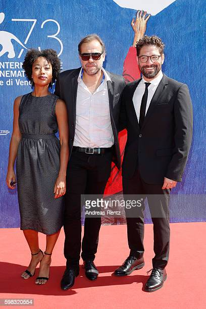 Actress Mariana Nunes director Marco Martins and actor Nuno Lopes attend the premiere of 'Saint George' during the 73rd Venice Film Festival at Sala...