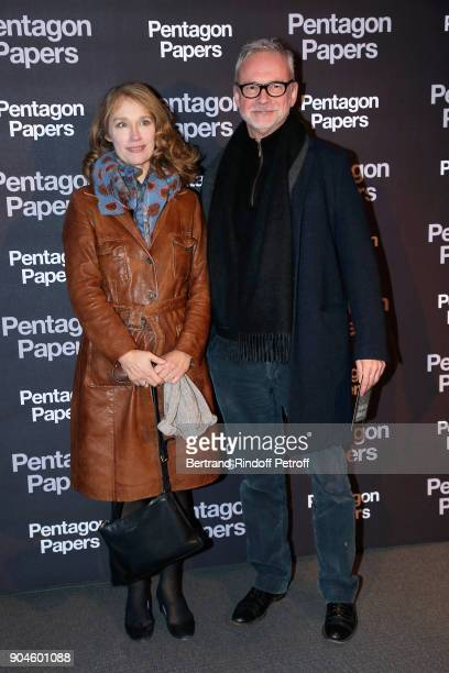 Actress Marianne Basler and the French voice actor of Tom Hanks JeanPhilippe Puymartin attend the 'Pentagon Papers' Paris Premiere at Cinema UGC...