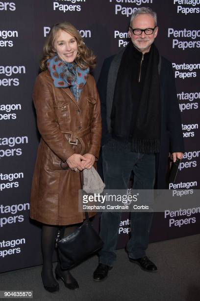 Actress Marianne Basler and the French voice actor of Tom Hanks JeanPhilippe Puymartin attend 'Pentagon Papers' Premiere at Cinema UGC Normandie on...