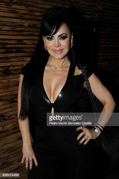 Actress Maribel Guardia poses during a red carpet prior the presentation of the musical play 'Aventurera' at Black Berry Theater on February 14 2017...