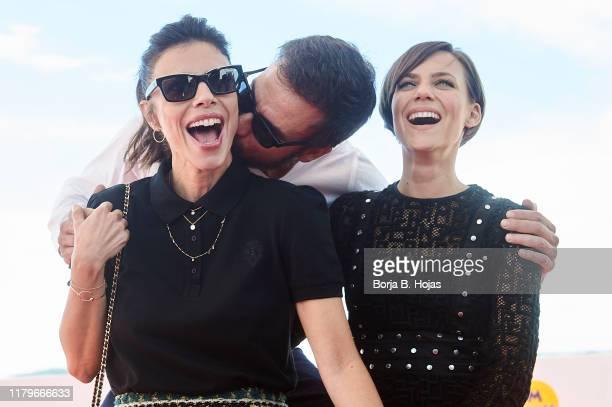 Actress Maribel Verdú actor Daniel Grao and actress Aura Garrido attends photocall of 'El Asesino de los Caprichos' on October 07 2019 in Sitges Spain